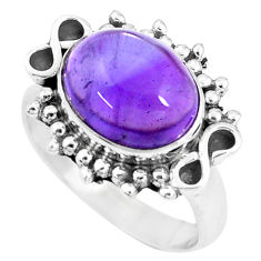925 silver 5.53cts natural purple amethyst oval solitaire ring size 7 p9448