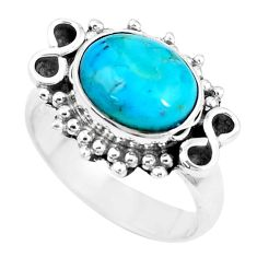 4.52cts blue sleeping beauty turquoise 925 silver solitaire ring size 6 p9451