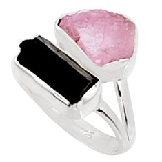 9.61cts natural morganite rough tourmaline rough 925 silver ring size 7.5 p94588