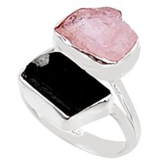9.61cts natural morganite rough tourmaline rough 925 silver ring size 7.5 p94595
