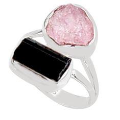 10.02cts natural morganite rough tourmaline rough 925 silver ring size 7 p94598