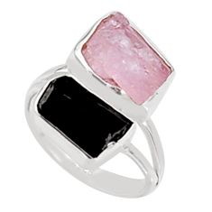 925 silver 11.64cts natural morganite rough tourmaline rough ring size 8 p94599