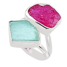 12.52cts natural pink ruby rough aquamarine rough silver ring size 6.5 p94600