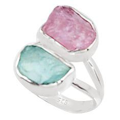 10.76cts natural morganite rough aquamarine rough 925 silver ring size 6 p94606