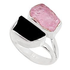 10.32cts natural morganite rough tourmaline rough silver ring size 6.5 p94611