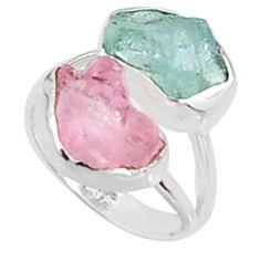 12.52cts natural morganite rough aquamarine rough 925 silver ring size 7 p94612