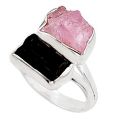 11.04cts natural morganite rough tourmaline rough 925 silver ring size 8 p94616