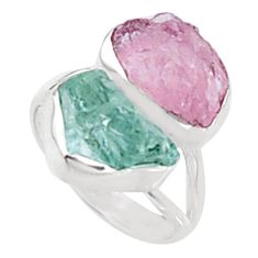 925 silver 12.06cts natural morganite rough aquamarine rough ring size 8 p94619