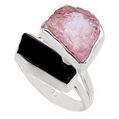 12.52cts natural morganite rough tourmaline rough silver ring size 8.5 p94620