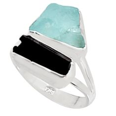 10.76cts natural aquamarine rough tourmaline rough 925 silver ring size 8 p94624