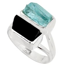 925 silver 11.07cts natural aquamarine rough tourmaline rough ring size 7 p94625