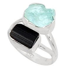 11.07cts natural aquamarine rough tourmaline rough 925 silver ring size 8 p94630