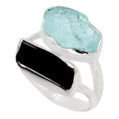 11.57cts natural aquamarine rough tourmaline rough 925 silver ring size 7 p94634