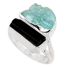 12.03cts natural aquamarine rough tourmaline rough 925 silver ring size 6 p94635