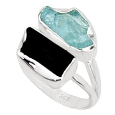 11.07cts natural aquamarine rough tourmaline rough silver ring size 8 p94637