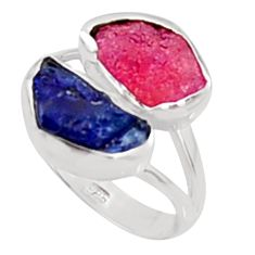 11.07cts natural pink ruby rough sapphire rough 925 silver ring size 8 p94663