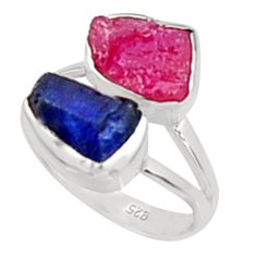 925 silver 10.78cts natural pink ruby rough sapphire rough ring size 8 p94664