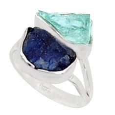 11.07cts natural aqua aquamarine rough sapphire rough silver ring size 8 p94666