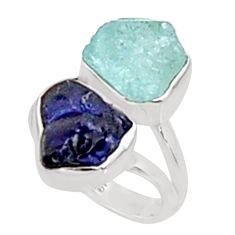 12.36cts natural aqua aquamarine rough sapphire rough silver ring size 6 p94667