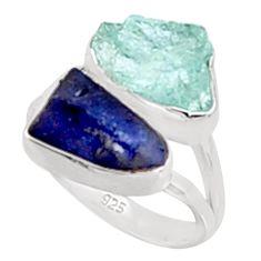 11.07cts natural aqua aquamarine rough sapphire rough silver ring size 6 p94676
