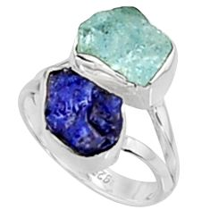 9.37cts natural aqua aquamarine rough sapphire rough silver ring size 6 p94706