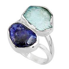 11.07cts natural aqua aquamarine rough sapphire rough silver ring size 8 p94711