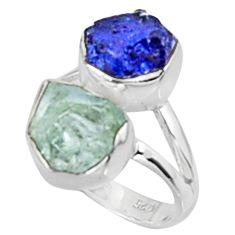 10.23cts natural aqua aquamarine rough sapphire rough silver ring size 6 p94714