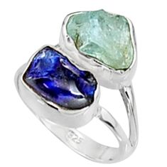 11.07cts natural aqua aquamarine rough sapphire rough silver ring size 7 p94716