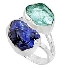 11.07cts natural aqua aquamarine rough sapphire rough silver ring size 6 p94718