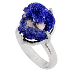 15.16cts natural blue azurite druzy 925 silver solitaire ring size 8 p94943