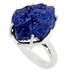 17.20cts natural blue azurite druzy 925 silver solitaire ring size 8 p94948