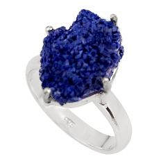 13.24cts natural blue azurite druzy 925 silver solitaire ring size 8 p94950
