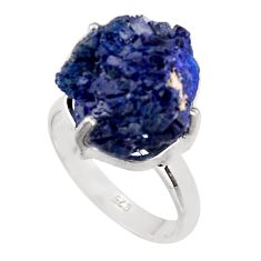 17.67cts natural blue azurite druzy 925 silver solitaire ring size 8 p94951