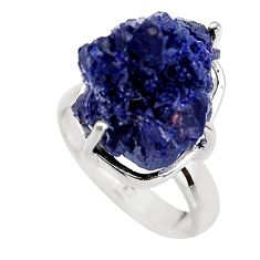 925 silver 17.69cts natural blue azurite druzy solitaire ring size 7 p94953