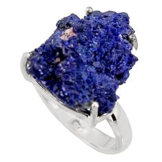 18.68cts natural blue azurite druzy 925 silver solitaire ring size 8 p94955