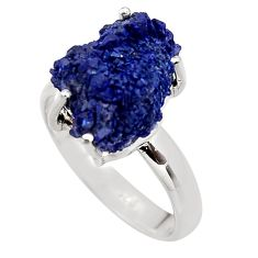 11.21cts natural blue azurite druzy 925 silver solitaire ring size 8 p94957