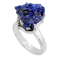 11.23cts natural blue azurite druzy 925 sterling silver ring size 6 p94999