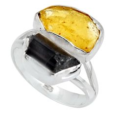 10.31cts yellow amber tourmaline rough 925 sterling silver ring size 8 p95001