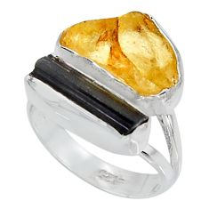 9.16cts yellow amber tourmaline rough 925 sterling silver ring size 6 p95003