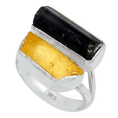 12.03cts yellow amber tourmaline rough 925 sterling silver ring size 7 p95005