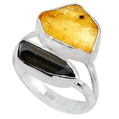 9.61cts yellow amber tourmaline rough 925 sterling silver ring size 7 p95006