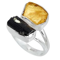 925 sterling silver 10.29cts yellow amber tourmaline rough ring size 8 p95008