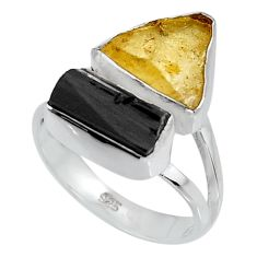 9.16cts yellow amber tourmaline rough 925 sterling silver ring size 7 p95010