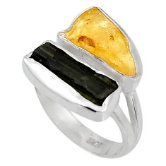 9.18cts yellow amber tourmaline rough 925 sterling silver ring size 8 p95015