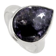 10.31cts natural purple lepidolite 925 silver solitaire ring size 6.5 p95143