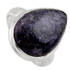 925 silver 13.70cts natural purple lepidolite solitaire ring size 7 p95144