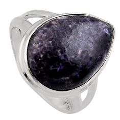 9.96cts natural purple lepidolite 925 silver solitaire ring size 6.5 p95145