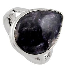 13.70cts natural purple lepidolite 925 silver solitaire ring size 7 p95146
