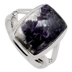 7.40cts natural purple lepidolite 925 silver solitaire ring size 7 p95147
