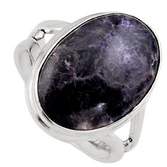 14.23cts natural purple lepidolite 925 silver solitaire ring size 7 p95148